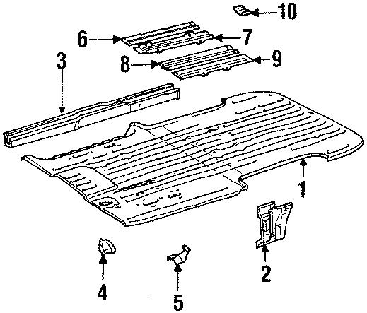 1993 Toyota Previa Anchor  Obs  Rear Seat  Body  Floor