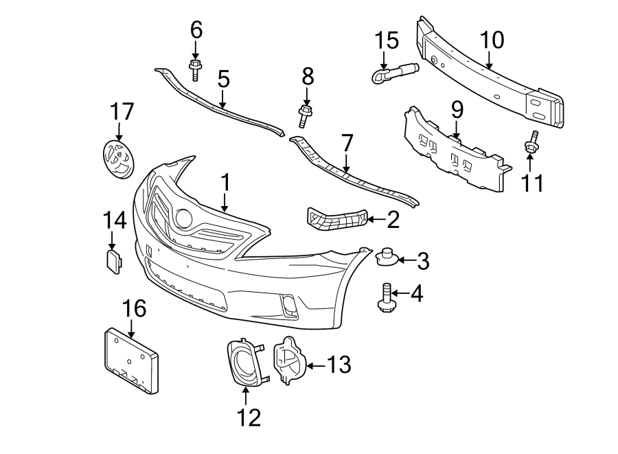 Toyota Camry Bumper Cover Support Rail  Front  Upper